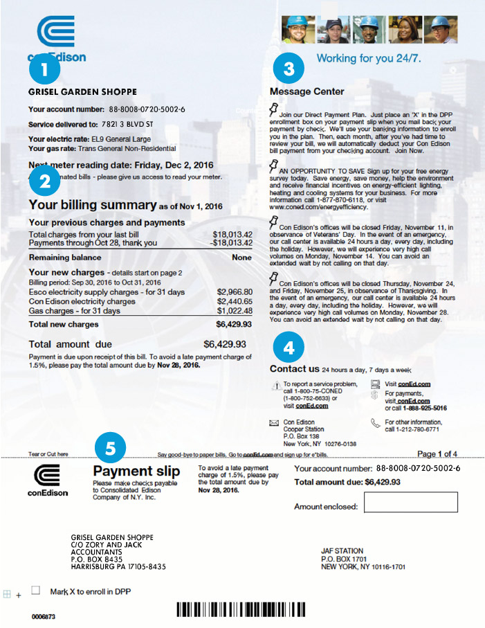 Sample Bill—Large Commercial (50+ kW) | Con Edison