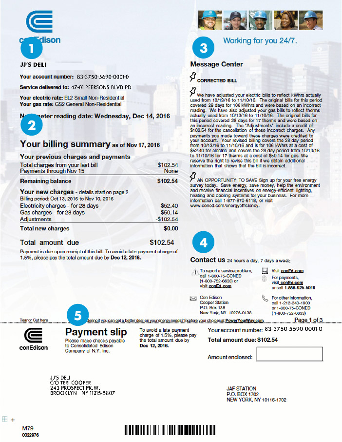 Sample Bill—Large Commercial | Con Edison