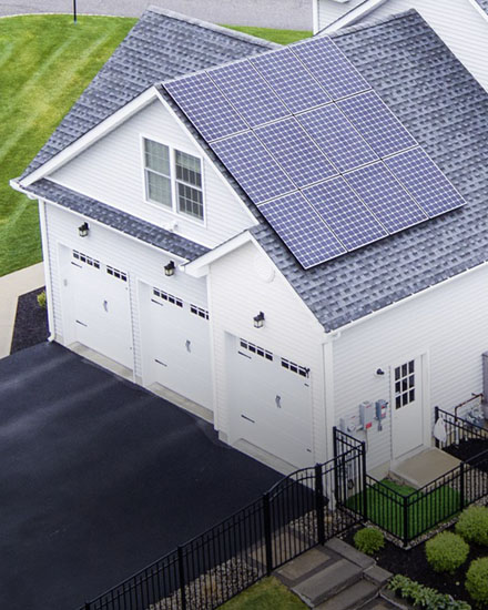 Solar panels on a residential home's roof.