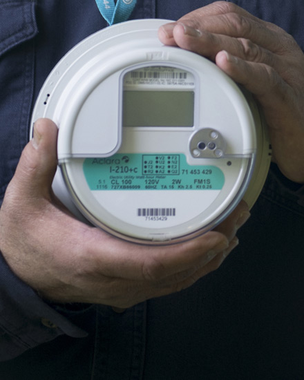 A close-up view of a smart meter device
