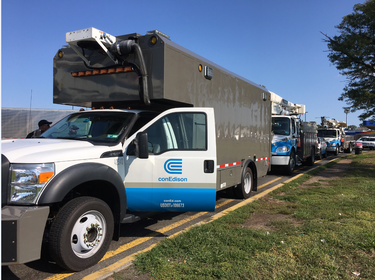 con edison trucks preparing for mutual assistance