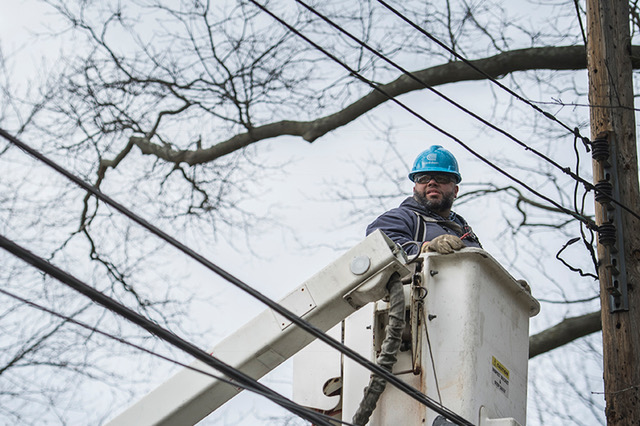 A Con Edison employee in a bucket truck, with tree branches in the background.