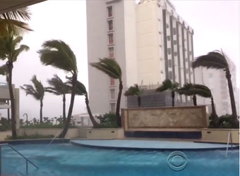 Hurricane winds blowing palm trees over at a hotel pool