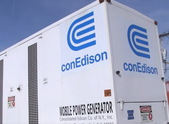Con Edison mobile power generator sitting outside