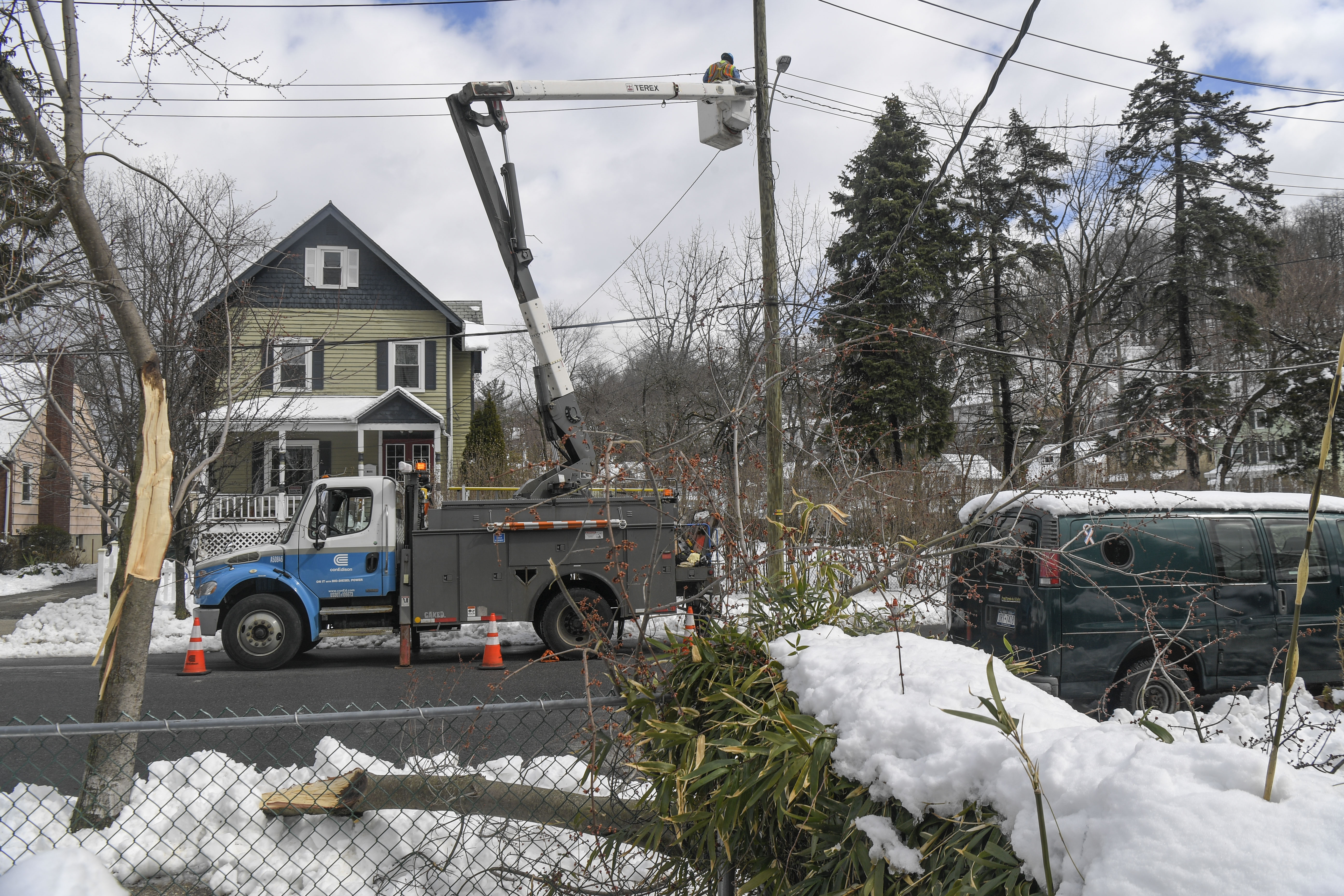 A downed tree and damaged power lines, with a Con Edison truck on the scene. Aftermath of Winter Storm Quinn.