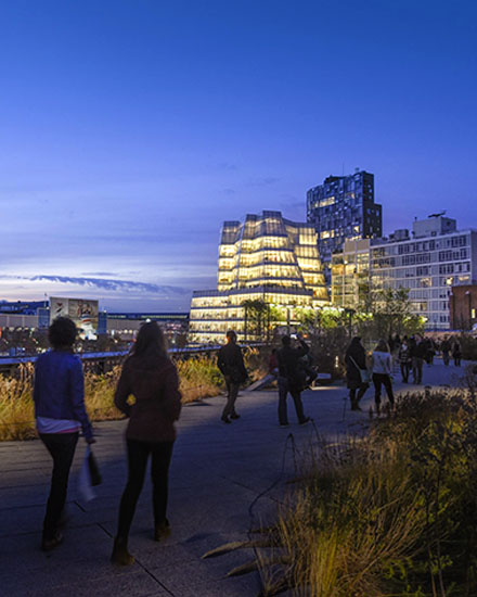 The Highline park during the evening.