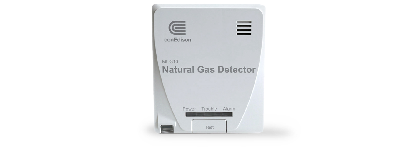 The gas detecting device, which monitors the air in the area where our gas service pipe enters your home or building, and will sound an audible alarm and send Con Edison an alert if a potential gas leak is detected.